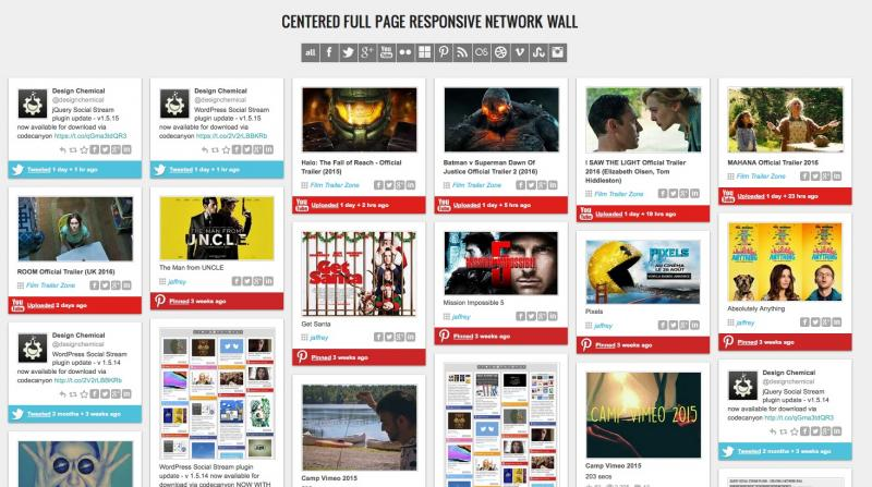 Centered Full Page Responsive Network Wall